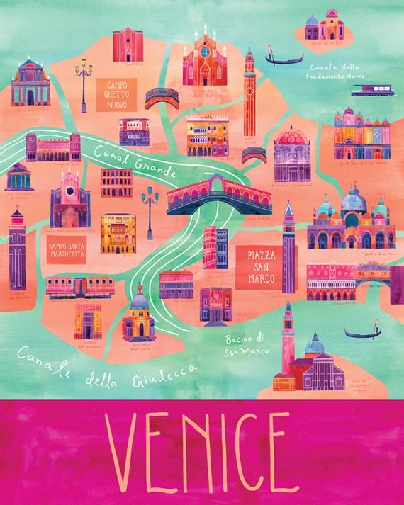 City Map Of Venezia By Marisa Seguin Etsy Pop Up Venice - Venice city map