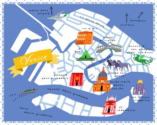 Venice Map Illustrated by Lena Corwin