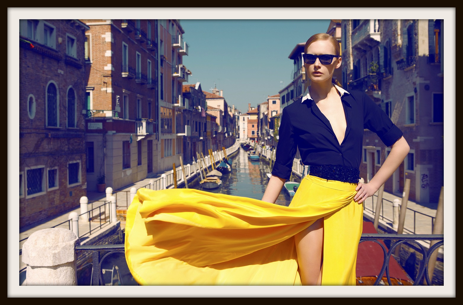 Model Viola Kowal by Koray Parlak in Marie Claire Turkey Collage Venezia