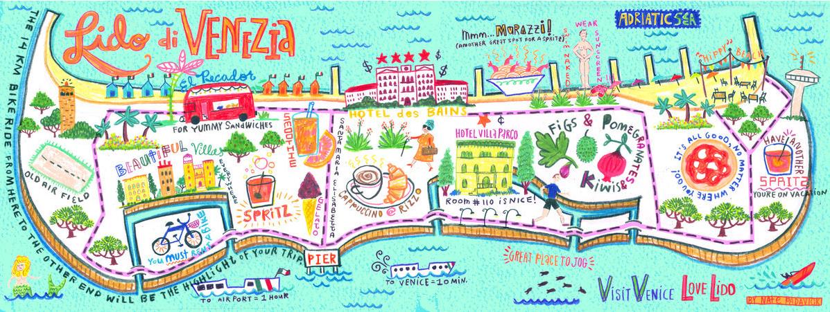 Lido di Venezia Map by Nate Padavick