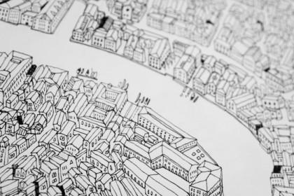 Rialto Bridge detail James Gulliver Hancok Map of Venice