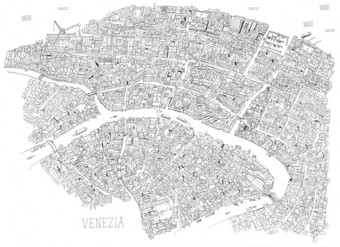 Venice map by James Gulliver Hancock