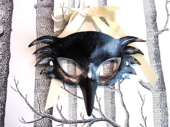 Raven Leather Mask etsy