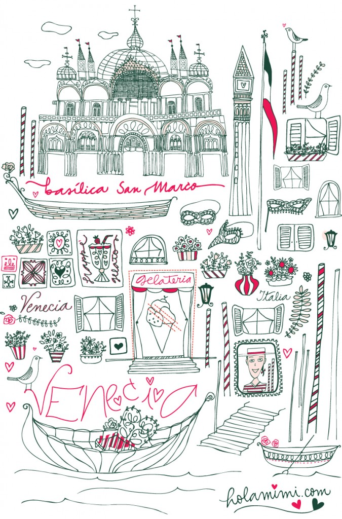 Illustration & lettering Venecia by Mimi